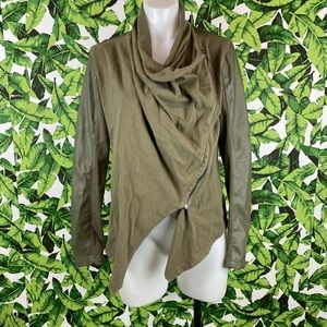 Blank NYC Olive Green Drape Front Jacket